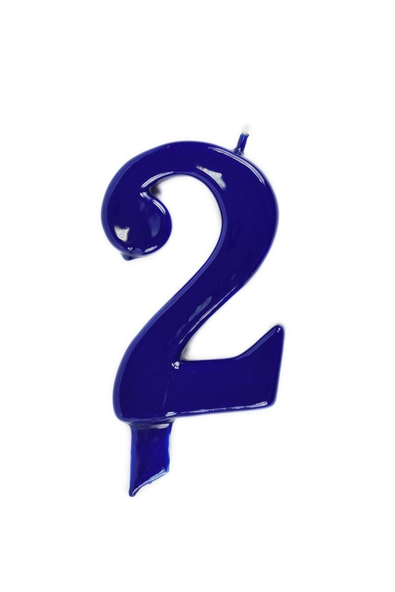 Vela de cumpleaños número 2 gigante Azul