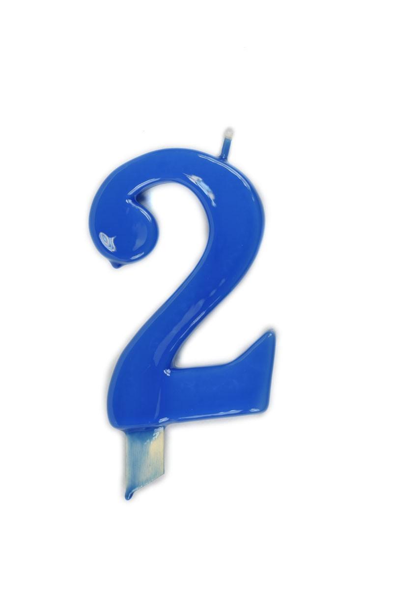 Vela de cumpleaños número 2 gigante Azul Cian