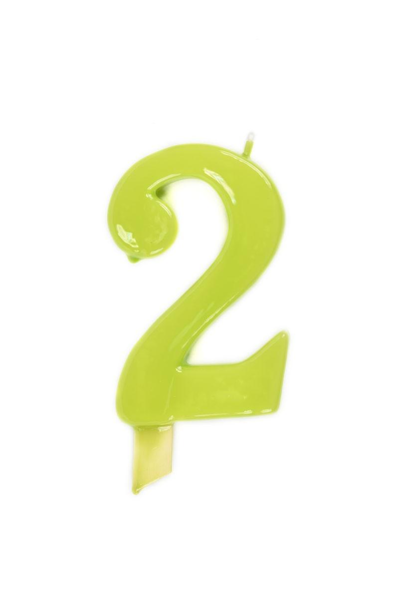 Vela de cumpleaños número 2 gigante Verde Pistacho