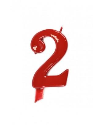 Vela de cumpleaños número 2 gigante Roja