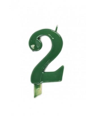 Vela de cumpleaños número 2 gigante Verde