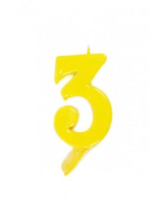 Vela de cumpleaños número 3 gigante Amarilla