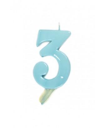 Vela de cumpleaños número 3 gigante Azul Bebé