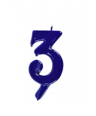Vela de cumpleaños número 3 gigante Azul