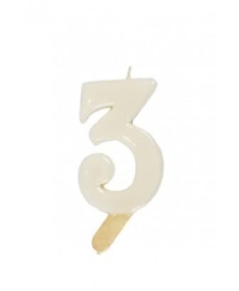 Vela de cumpleaños número 3 gigante Blanca