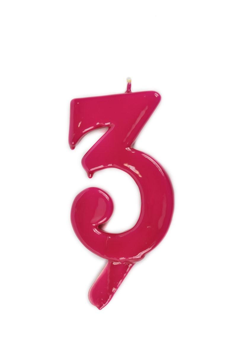 Vela de cumpleaños número 3 gigante Magenta