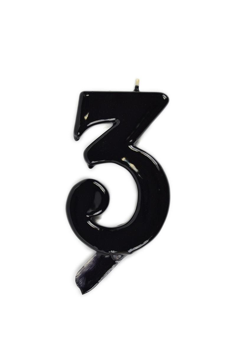 Vela de cumpleaños número 3 gigante Negra