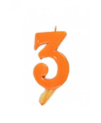 Vela de cumpleaños número 3 gigante Naranja