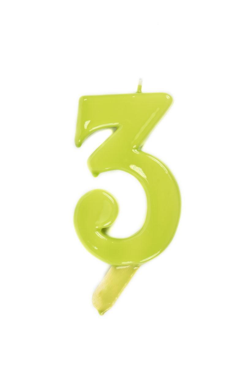 Vela de cumpleaños número 3 gigante Verde Pistacho