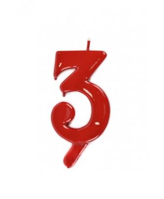Vela de cumpleaños número 3 gigante Roja