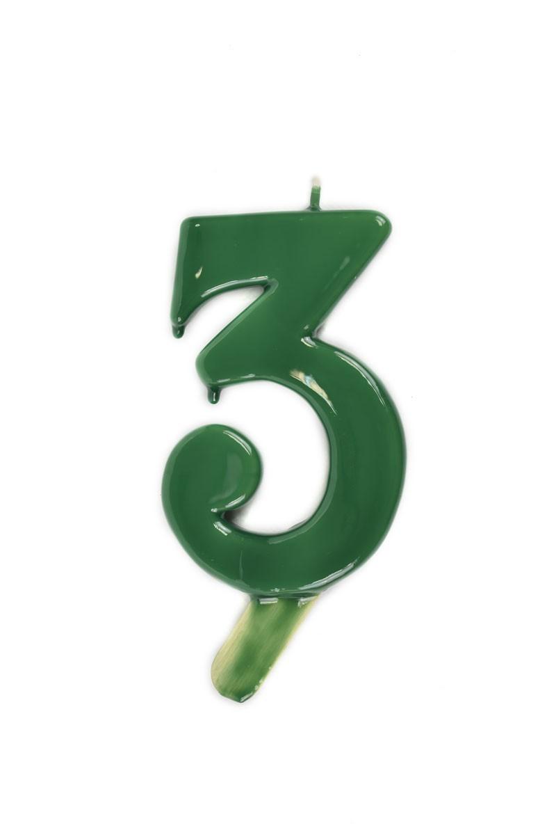 Vela de cumpleaños número 3 gigante Verde