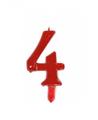 Vela de cumpleaños número 4 gigante Roja