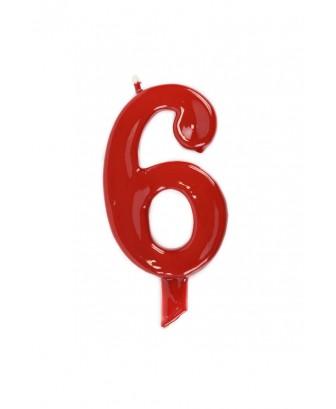 Vela de cumpleaños número 6 gigante Roja