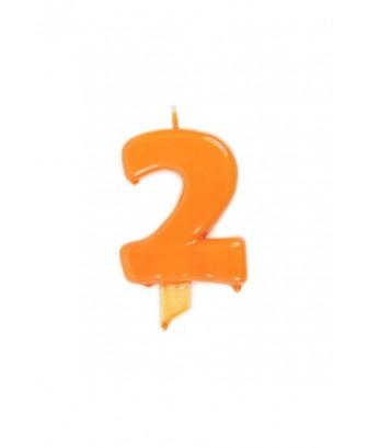 Vela de cumpleaños globs número 2 Naranja