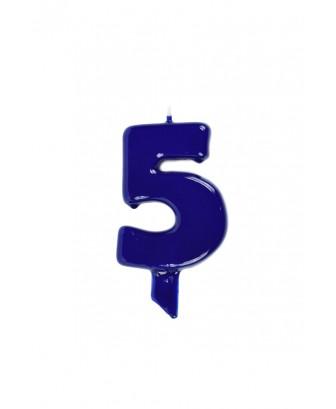 Vela de cumpleaños globs número 5 Azul Marina