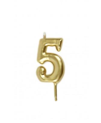 Vela de cumpleaños número 5 color Oro
