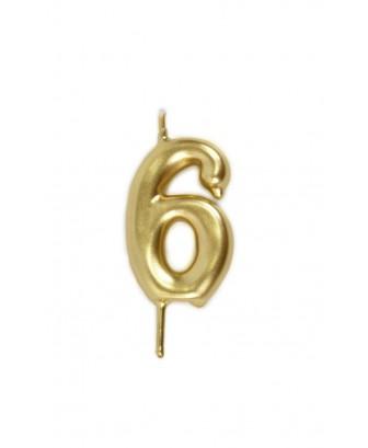 Vela de cumpleaños número 6 color Oro