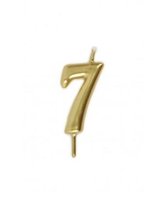 Vela de cumpleaños número 7 color Oro