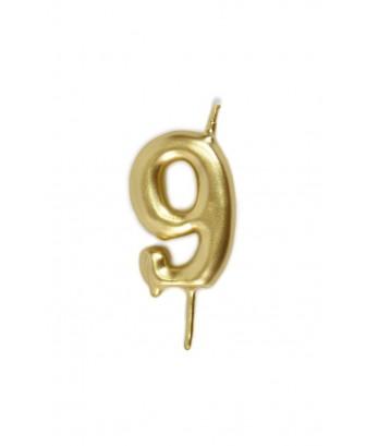 Vela de cumpleaños número 9 color Oro