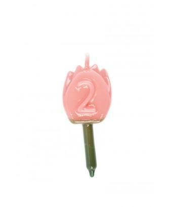 Vela Tulipán 2 Rosa bebé