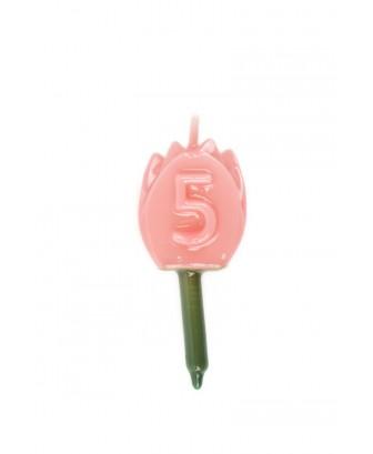 Vela Tulipán 5 Rosa bebé
