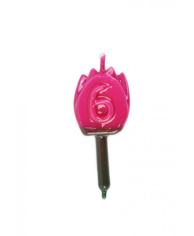 Vela Tulipán 6 Magenta